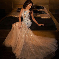 New Arrival Sparkly Beaded Crystal Mermaid Prom Dresses 2016 Plus SIze Champagne Tulle Prom Gowns For Women Pageant Gowns