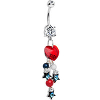 Handcrafted American Patriotic Sweetheart Dangle Belly Ring   Body Candy Body Jewelry