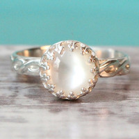 White ring sterling silver with mother of pearl in a crown setting on a floral band, promise ring, organic jewelry, stacking ring, stackable