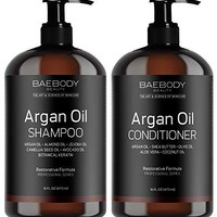 Moroccan Argan Oil Shampoo & Conditioner Set 16 Oz -Gentle on Curly & Color Treated Hair, for Men & Women. Infused with Keratin.