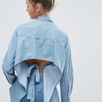 ASOS Denim Stripe Shirt With Long Cuff and Open Back at asos.com