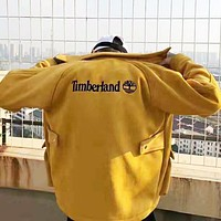 """Timberland"" Winter Trending Men Women PU Leather Zipper Cardigan Jacket Coat Yellow"