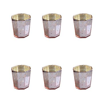 6 Pack | Patricia Mercury Glass Tealight Holders (Rose Gold Pink) For Use with Tea Lights - For Home Decor, Parties and Wedding Decorations