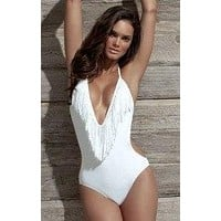 Halter Neck Fringed Tassel Monokini One Piece Swimsuit