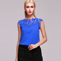 Blue Floral Lace Sleeveless Blouse