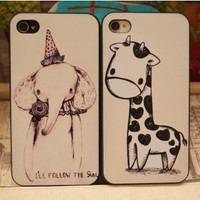 Super Cute Giraffe and Elephant Case for iPhone 4/4S
