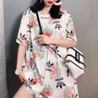 """Adidas"" Fashion Casual Letter Clover Flower Print Short Sleeve T-shirt Mesh Dress"