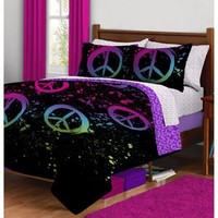 Black Purple Pink Peace Sign Twin Girls Comforter Bed in a Bag Set by Morgan Teen
