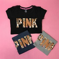 victoria s secret pink fashion print short sleeve t shirt top tee