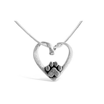 Heart Shape With Dog Paw Necklace