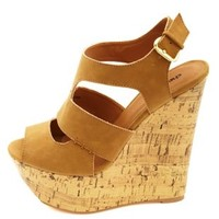 Cut-Out Peep Toe Platform Wedges by Charlotte Russe - Camel