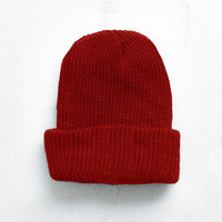 Basic Brushed Beanie in Deep Red