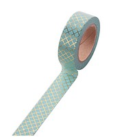 Blue and Gold Grid Washi Decorative Masking Tape