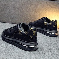 LV Louis Vuitton Embossed Letter Air Cushion Casual White Shoes Men's and Women's Sports Shoes Black