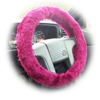 Burgundy red faux fur fluffy fuzzy furry car Steering wheel cover
