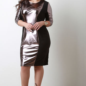 Vegan Leatherette Mesh Panel Dress