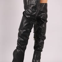 Liliana Slouchy Leather Peep Toe Stiletto Over-The-Knee Boots