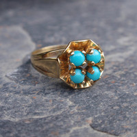Turquoise Ring 4 stone 8k yellow gold unique