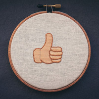 Thumbs up embroidered emoji
