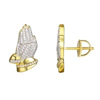 Religious Praying hands Iced Out Silver Stud Earrings