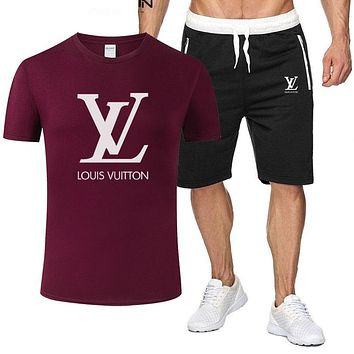 Louis Vuitton LV Classic hot sale printed letter logo hooded T-shirt Shorts two-piece suit