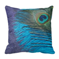 Purple and Teal Peacock Pillow