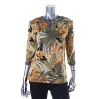Alfred Dunner Womens Petites Metallic Floral Print Tunic Top