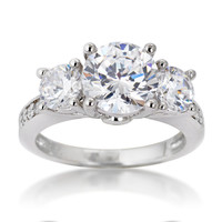 SusanB.Designs 2.5 Carat Simulated Diamond 3 Stone Ring Sterling Silver