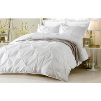 Pinch Pleat Design White Bedding Set-Includes Comforter & Duvet Cover - Style # 1006 C - Cherry Hill Collection in Full/Queen Size