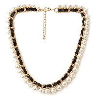 FOREVER 21 Iconic Chain Necklace Black/Cream One