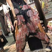Yesno PE3 Women Loose Cropped Harem Pants Overalls Rompers 2 Layers Checks Plaids Printed Ultra Low Crotch Fringed Cuff