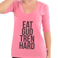 Eat Gud Tren Hard - Football V-Neck Tee