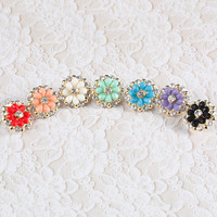 Spring Floral Fashion Rhinestone Earrings (MULTIPLE COLORS AVAILABLE)