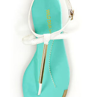 Wild Diva Lounge Tabiana 01B White and Gold Thong Sandals