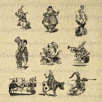 Alice in Wonderland Parody Characters Digital Printable Download Graphic Image Antique Clip Art for Transfers Printing etc HQ 300dpi No.2508
