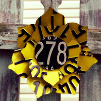 Upcycled Yellow and Black Vintage License Plate Sunflower