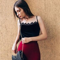 ICIKXT7 Fashion  Solid Color Velvet Stitching Lace Sleeveless Strap Vest Tops