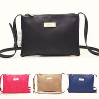 Trendy Ladies Saddle Shoulder Bag - Candy Color Leather