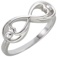 Sterling Silver Heart Infinity .025 CTW Diamond Ring
