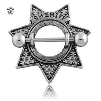 Retro Star Shape Sheriff Surgical Steel Nipple Shield Ring Body Piercing Jewelry