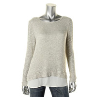 Casual Couture by Green Envelope Womens Sheer Knit Pullover Sweater