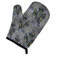 Watecolor Halloween Haunted House Oven Mitt BB7522OVMT