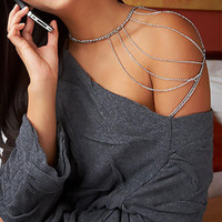 Womens Sexy Selling Golden Silver Harness Tassels Sexy Body Necklace Alloy Multi-layers One Shoulder Chain SM6