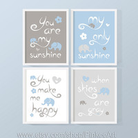 baby boy you are my sunshine print, blue gray sunshine baby decor, baby shower gift with elephant, baby quotes song, custom nursery wall art