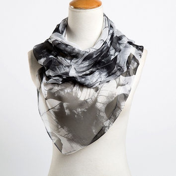 Fashion Leaves Printing Long Georgette Silk Scarf