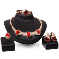 Faux Ruby Snake Necklace Bracelet Ring and Earrings