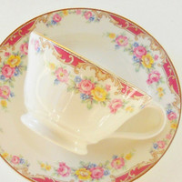 Edwin Knowles Pink Floral Tea Cup and Saucer Set, Cottage Style, Tea Party Set, Weddings, Housewarming Gift, Shabby Elegance