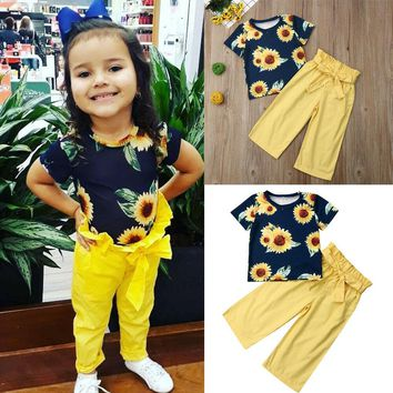USA Toddler Infant Baby Girl Kid T-shirt Top + Wide Leg Pants Clothes Outfit Set