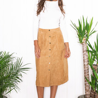 Casual Suede Button Down Skirts