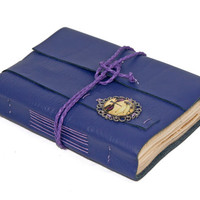 Purple Leather Journal with Tea Stained Paper and Dragonfly Cameo Bookmark - Ready to Ship